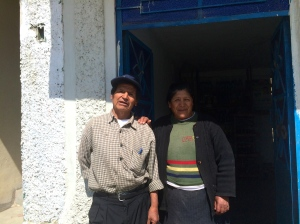 Older couple running cafe in Recuay - she picked the manzanilla plant for my tea