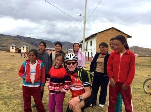 with school children and teachers in remote village