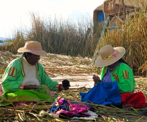 Uros women working at their crafts on Lake Titicaca