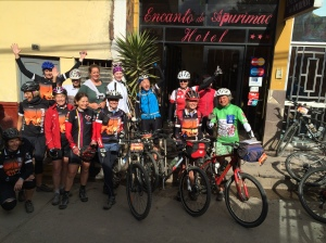 All the lady cyclists plus Annelot, leaving Andahuaylas Peru