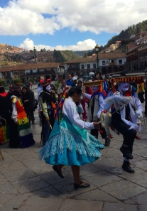 Festival dancers in main square in cusco, peru