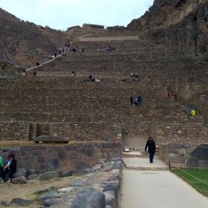 Looking up at the main terraces at Ollantaytambo