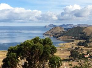 View along shore of Lake Titicaca beyond Copacabana