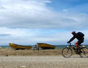 biker along coast of Tierra del Fuego